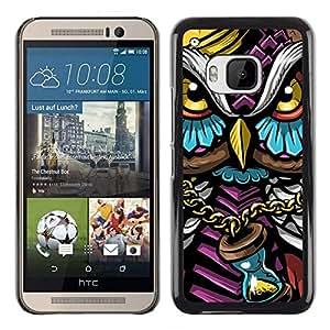 // PHONE CASE GIFT // Duro Estuche protector PC Cáscara Plástico Carcasa Funda Hard Protective Case for HTC One M9 / Colorido Búho Gangster /