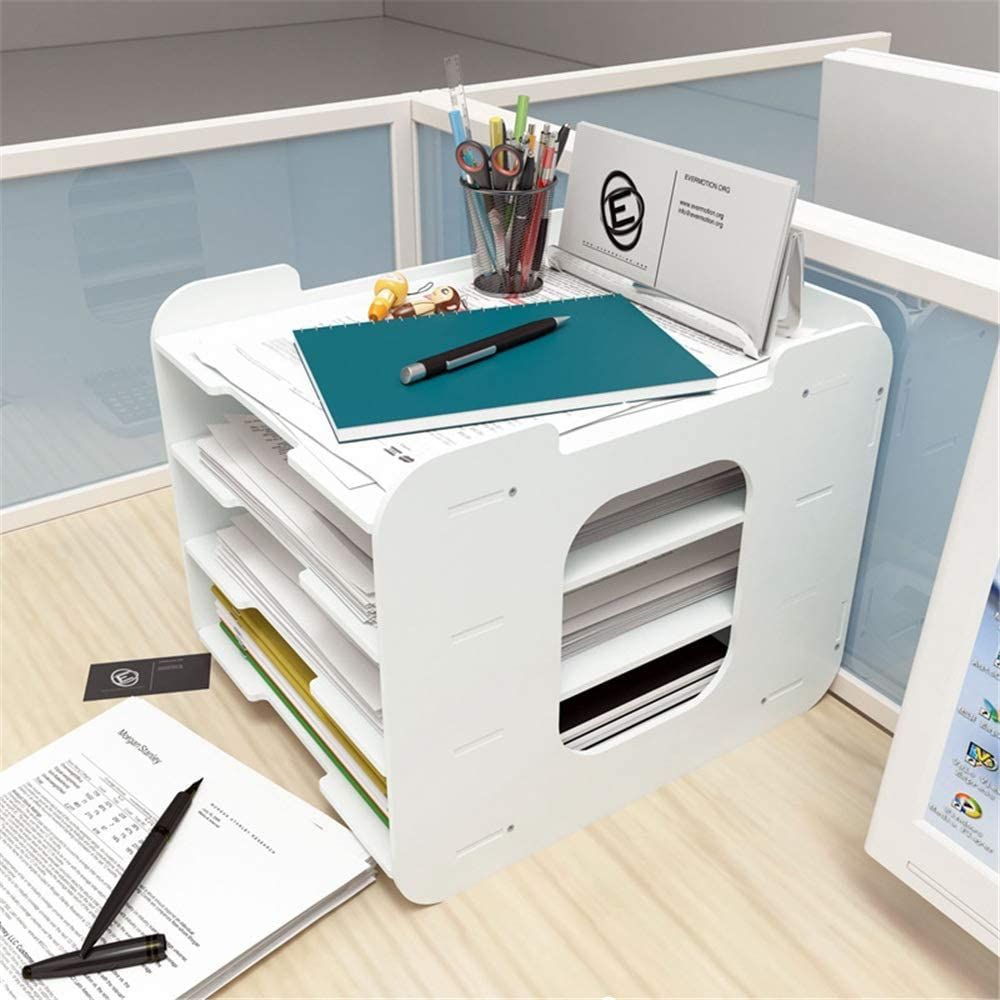 4 Tier Organizers for Business Home School Stores Organize Files Folders Letters Paper Binders for Office Home School File Organizer Bookshelf Paper Tray Desk Organizer