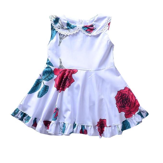 291d03ccf8f9 ღ 2018 UOMOGO Royal Vestito Cotone Manica Corta Floreale Abito Principessa  Casual Vestiti Bambina 1-
