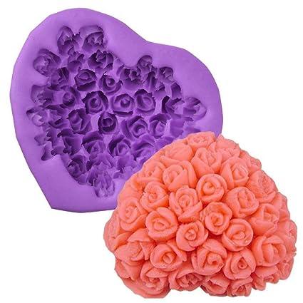 Ruiting Moldes de la Torta del silicón de Rose Amor Pasta de azúcar del Molde para Hornear de Bricolaje Moldes para Pastel de Chocolate Postre del pudín de ...