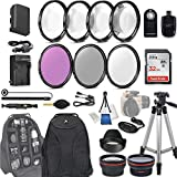 58mm 28 Pc Accessory Kit for Canon EOS Rebel 70D, 80D, DSLRs with 0.43x Wide Angle Lens, 2.2x Telephoto Lens, 32GB Sandisk SD, Filter & Macro Kits, Backpack Case, and More
