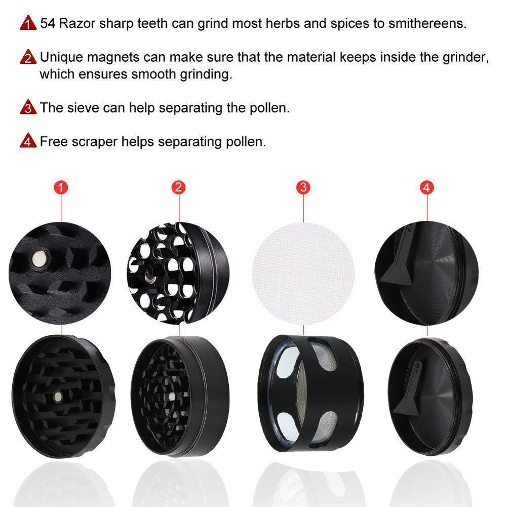 DCOU Grinder Moledora Trituradora Premium de Hierbas y Especias 55mm 2.2