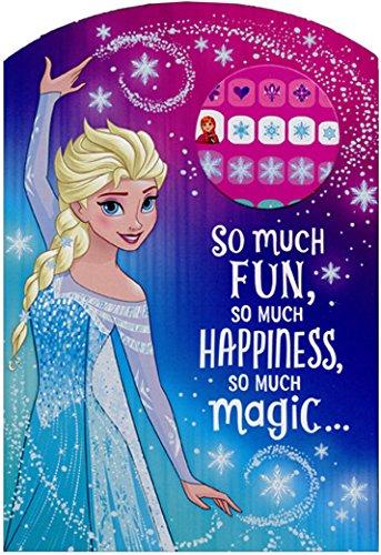 Frozen Princess Elsa So Much Fun Juvenile Disney Birthday Card for Girl with Fingernail Stickers