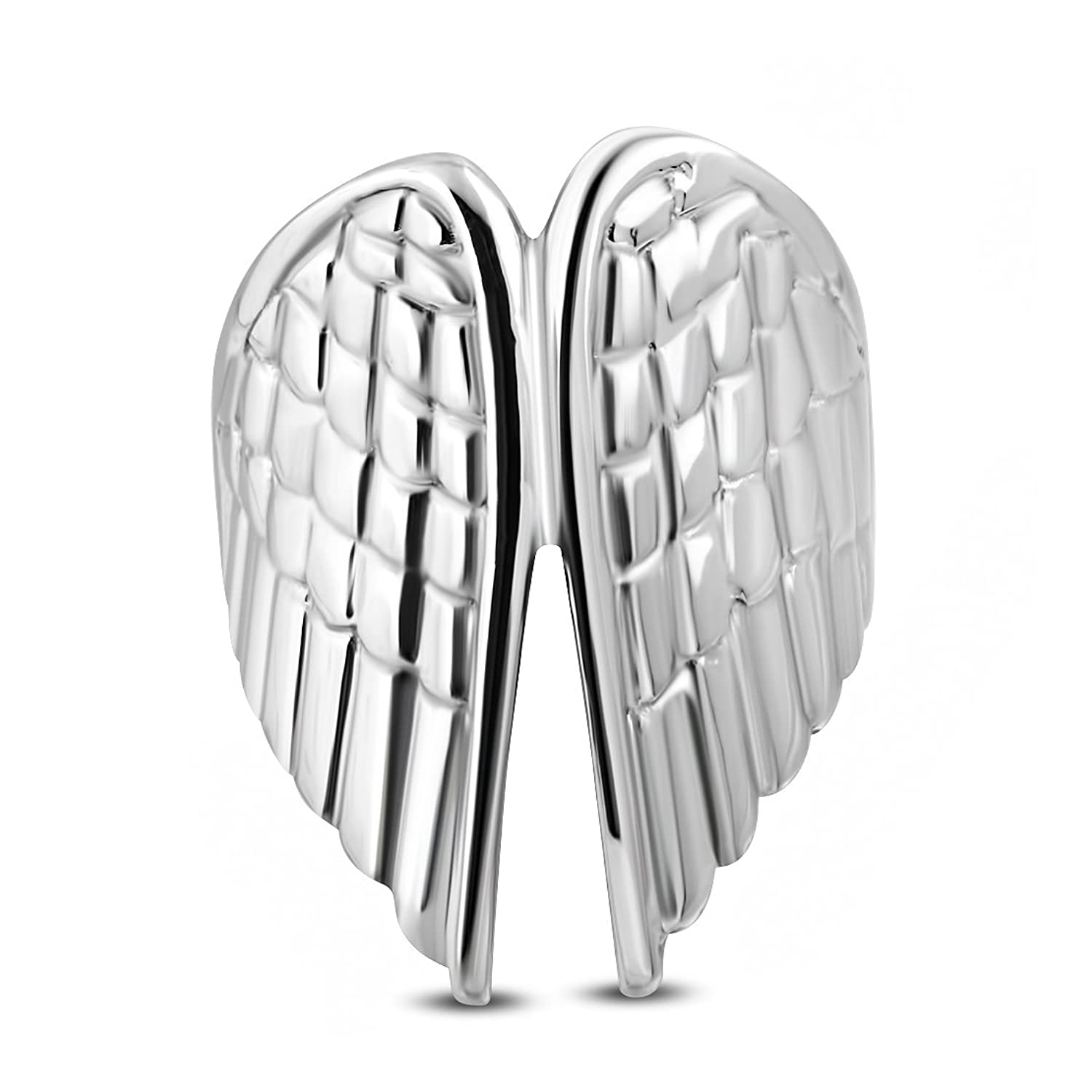 Stainless Steel Guardian Angel Wing Fancy Ring