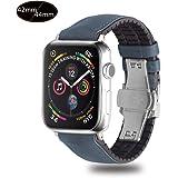 Xboun コンパチブル apple watch バンド,本革 ビジネス用 アップルウォッチバンド プッシュ式 Dバックル 手作り ゴム Apple Watch Series 4/3/2/1/Nike+ (42mm/44mm,ブルー)