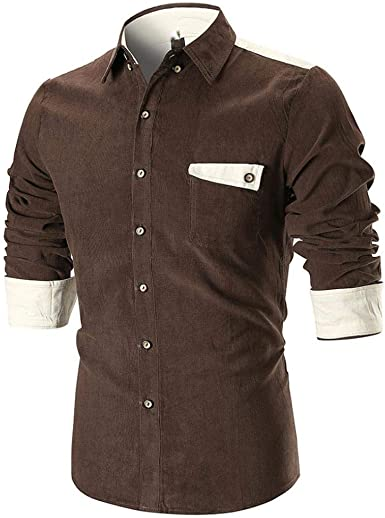 Camisa Manga Larga con Botones Color De Marrón Moda para Hombres Camiseta De Ma: Amazon.es: Ropa y accesorios