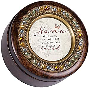 Cottage Garden Nana You are Loved Amber Earth Tone Jeweled Round Music Box Plays Wind Beneath My Wings