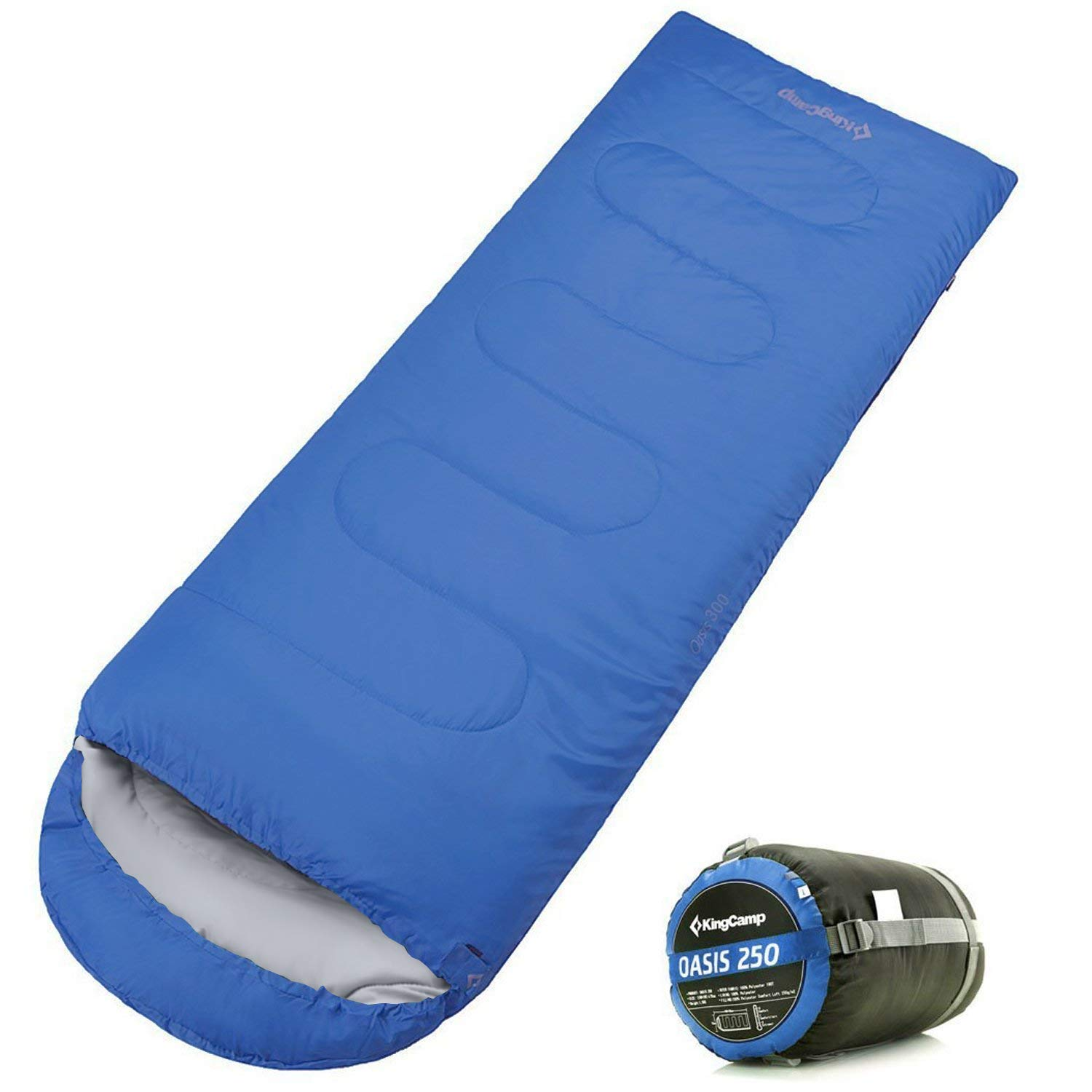 KingCamp Envelope Sleeping Bag 3 Season Lightweight Comfort with Compression Sack Camping Backpack Temp Rating 26F/-3C by KingCamp
