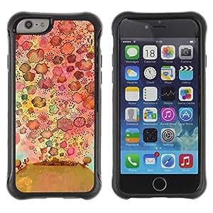 Híbridos estuche rígido plástico de protección con soporte para el Apple iPhone 6 (4.7) - flowers nature drawing pattern