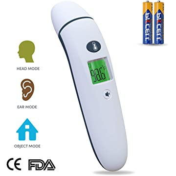 Baby Forehead Thermometer with Ear Function, Home Use Digital Medical Infrared Body Temporal Basal Thermometer with Fever Alarm, for Kids, Children, Adults, Infants and Toddlers