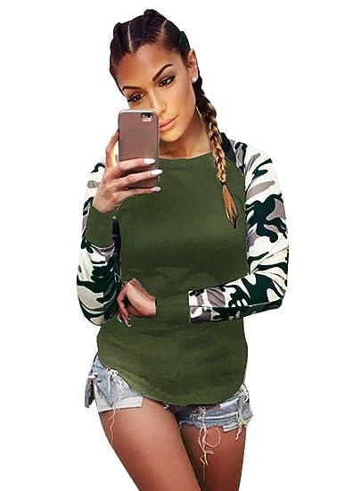 478a990a7a68 ISSHE Camisetas Cuello Redondo Manga Larga Mujer Camiseta Interior ...