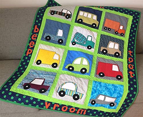 Transportation Stroller Blanket - Baby Boy Vehicles Baby Quilt, Applique Cars Trucks Toddler Stroller Blanket