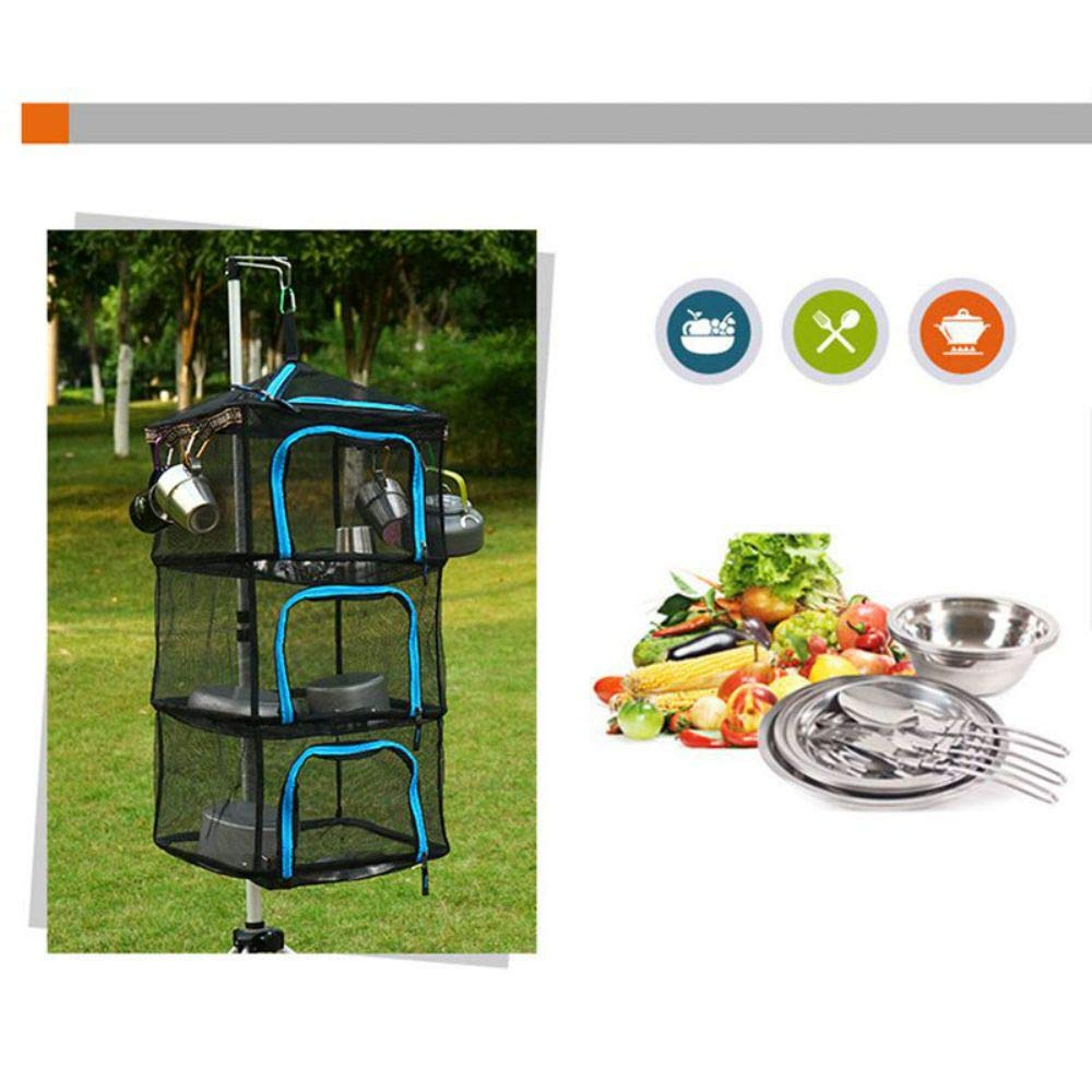 SUHAPPY Drying Rack Net 4 Layer Collapsible Mesh Hanging Vegetable Fish Dryer with Zipper for Outdoor Camping Fishing