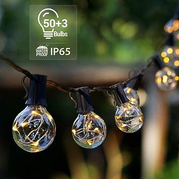 Novtech Outdoor Patio String Lights 58ft 50bulbs Waterproof Led Outdoor String Lights Plug In G40 Decorative Globe String Lights For Backyard