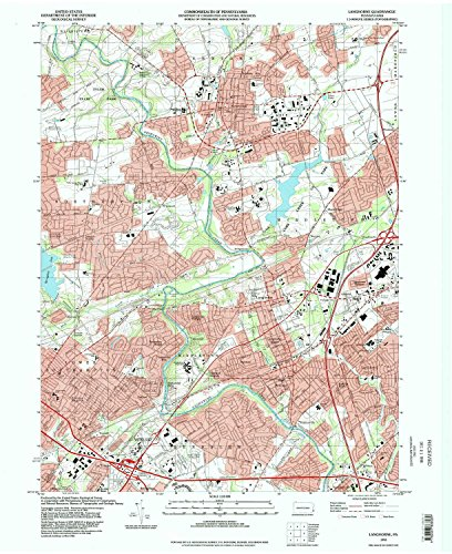 Langhorne PA topo map, 1:24000 scale, 7.5 X 7.5 Minute, Historical, 1993, updated 1998, 27 x 22.1 IN - - Langhorne Map Pa