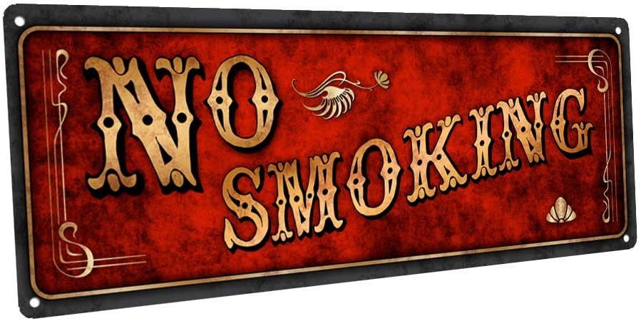 Flowershave357 No Smoking Metal Sign Wall Decor for Home and Office