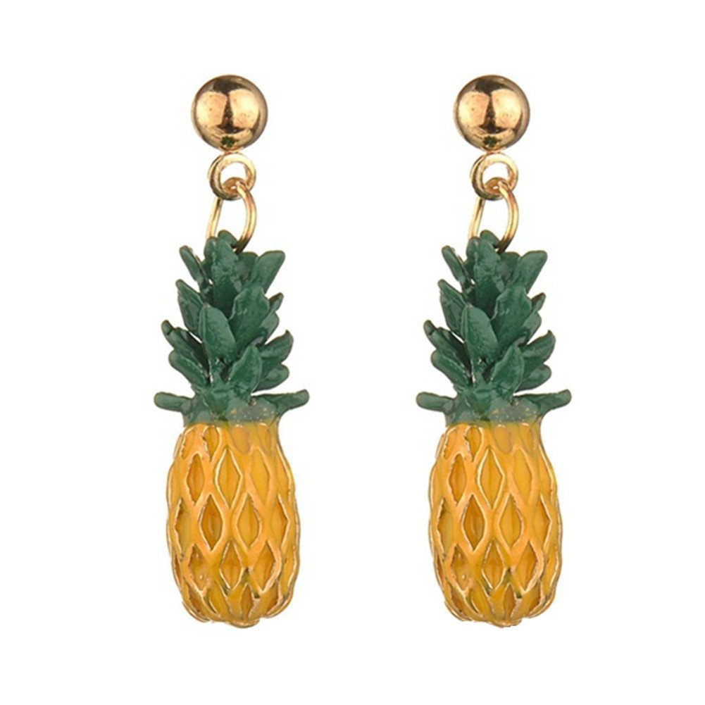 a67db0cb5 Amazon.com: 18K Gold Plated Lovely Fruit Green Leaf Pineapple Charm Drop Stud  Earrings: Jewelry
