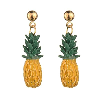 6998bd3fd Amazon.com: 18K Gold Plated Lovely Fruit Green Leaf Pineapple Charm ...