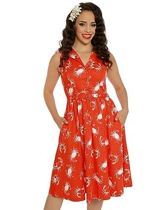 4ad7973e3734 Lindy Bop Matilda' Red Shellfish Print Rockabilly Shirt Dress Size - 26