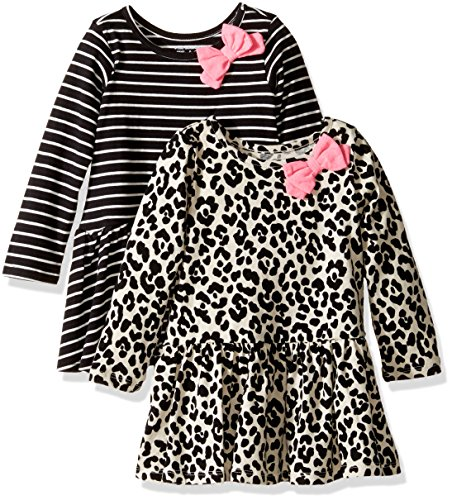 The Children's Place Girls' Drop Waist Dress (Pack of 2), Stripe/Animal Print, 12-18MOS