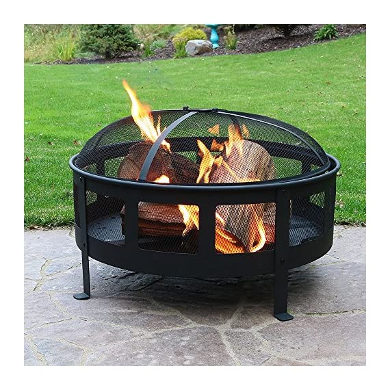 Sunnydaze 30 Inch Bravado Mesh Wood Burning Fire Pit with Spark Screen - Overall dimensions: 30 x 22 inches; weighs 31 pounds Includes: Steel spark screen, fireside poker tool, and vinyl protective cover. Mesh sides for maximum airflow for long lasting fires. - patio, outdoor-decor, fire-pits-outdoor-fireplaces - 61AixbHLHjL. SS570  -