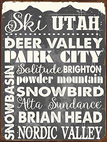 Ski Utah Metal Sign, Sport, Winter, Mountain, Cabin, Lodge (Edge All Mountain Skis)