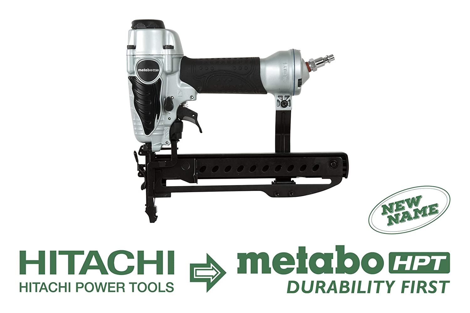 Metabo HPT N3804AB3 Pneumatic 1/4-Inch Narrow Crown Stapler, 18 Gauge, 1/2-Inch up to 1-1/2-Inch Staples, Non-slip Elastomer Grip, Adjustable Exhaust, Lightweight and Well-balanced, 5-Year Warranty