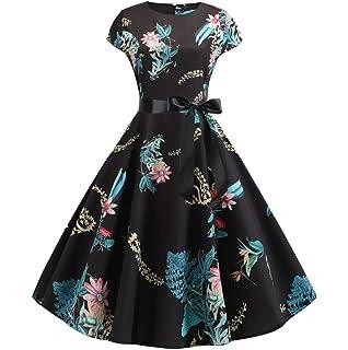Womens Vintage 1950s Sleeveless Sling Print Party Ball Sleeve Sleeve Sling Flower Star Print Waist Dress