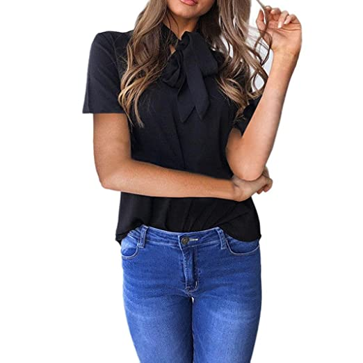 Blouse for Womens, FORUU Short Sleeve Bow V Neck Sexy Solid Casual Tops T Shirts at Amazon Womens Clothing store: