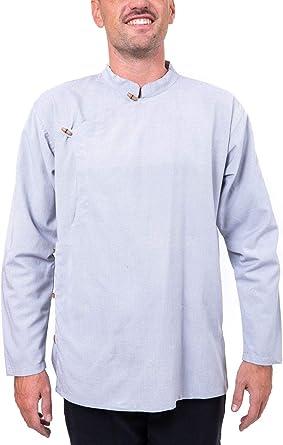 FANTAZIA Camisa tibetana de bambú y algodón Fanhti – Talla S a XXXL – 100 % algodón – Azul – Confort at Home – Cómoda y original – Creada en Francia, fabricación ética desde 2004.: Amazon.es: Ropa y accesorios