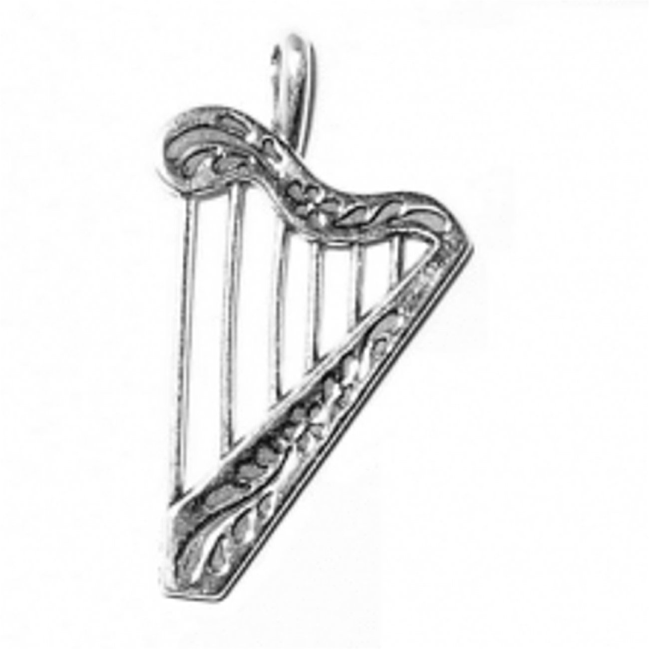 Sterling Silver Charm Bracelet With Attached 3D Musical Instrument Six Stringed Harp Charm With Flow