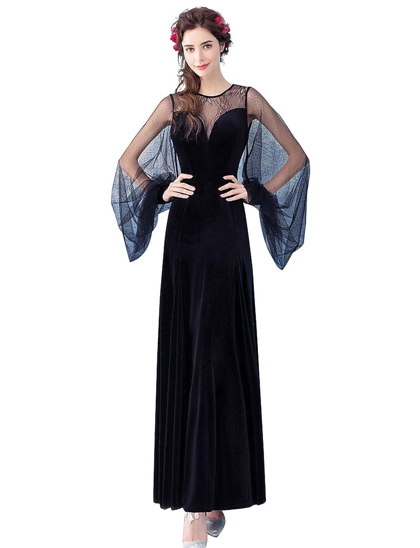 Erosebridal Illusion Neckline Long Sleeve Evening Dress For Forma