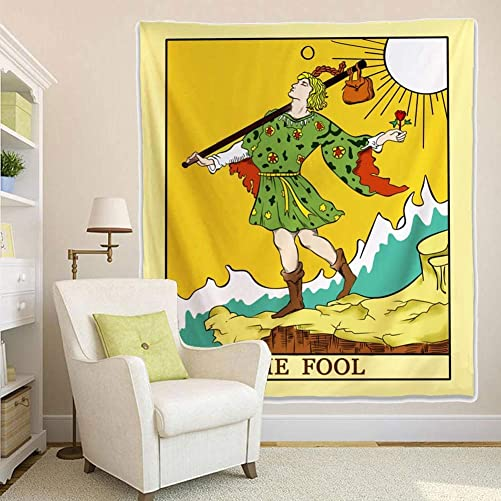 Tarot Tapestry, The Fool Style Design Decorative Wall Hanging Art Sets 70 x 95 Inches Wall Tapestry for Living Room Bedroom Dorm Decor 180cm x 235cm