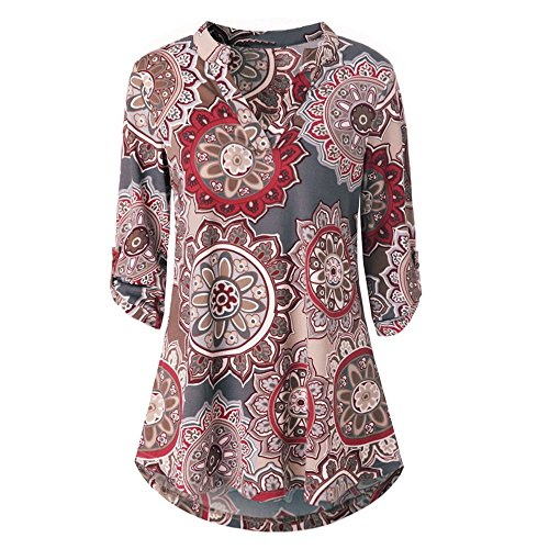 Henleys,Toimoth Womens Short Sleeve V Neck Floral Printed Ruffle Shirt Loose Zipper Tunic Tops (Wine b,M) ()