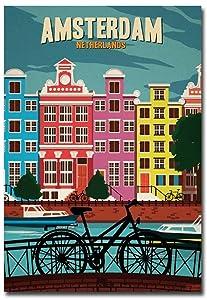 "Amsterdam Netherlands Travel Vintage Art Refrigerator Magnet Size 2.5"" x 3.5"""