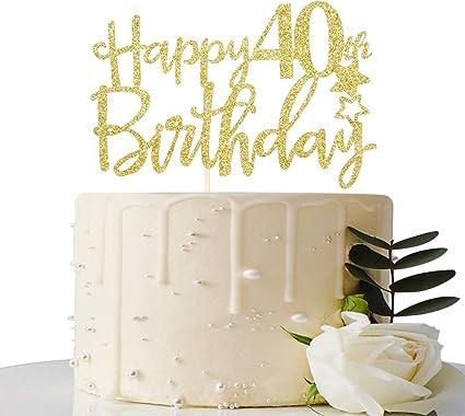 Outstanding Amazon Com Gold Glitter Happy 40Th Birthday Cake Topper Hello 40 Funny Birthday Cards Online Inifodamsfinfo