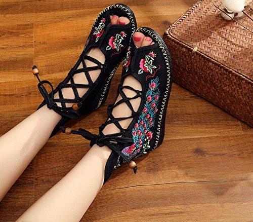 Lazutom - Sandalias de vestir de Lona para mujer negro