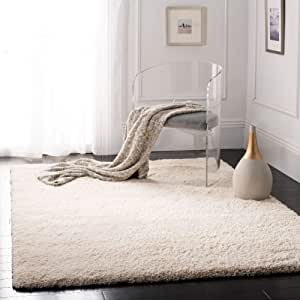 "Safavieh California Premium Shag Collection SG151-1212 Area Rug, 6' 7"" Square, Ivory"