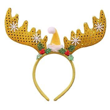 873be52310546 Amazon.com   EAPTS 1 PC Christmas Big Sequins Antlers Hair Hoop ...