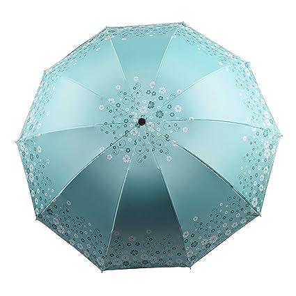 Lirener Paraguas Compacto Plegable De Viaje, 10 Costillas Reforzado Anti-UV Resistente al Viento