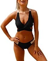 Sidefeel Women Strappy Crisscross Bikini Set Back Crochet Beachwear