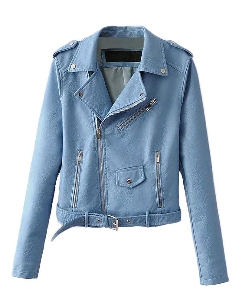 bluee Romacci Women PU Faux Leather Jacket Coat Long Sleeve Moto Jacket Outerwear