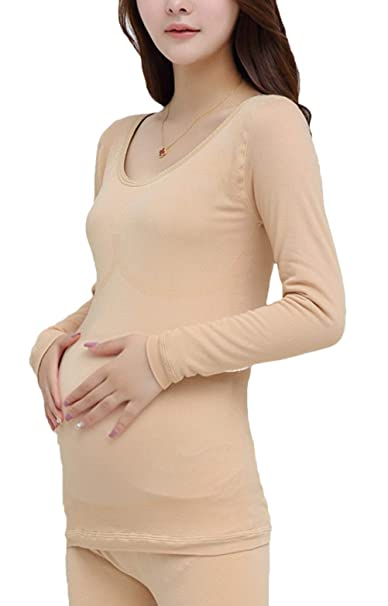 cae71a5ede16 Mujer Embarazadas Ropa Interior Térmica Set Manga Larga V-Cuello ...