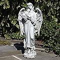 "Roman 25.5"" Gray Guardian Angel Holding Baby Outdoor Decorative Garden Statue"