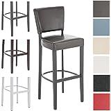 CLP Tabouret de bar ETHEL en bois revêtu de similicuir, hauteur assise: 81 cm, Tabouret en bois, Chaise design noir/marron