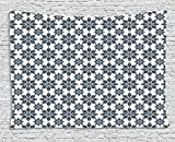 qinghexianpan Geometric Tapestry, Floral Arrangement Symmetric Pattern Soft Color Ceramic Style Design Nature, Wall Hanging for Bedroom Living Room Dorm, 80 W X 60 L Inches, Indigo White