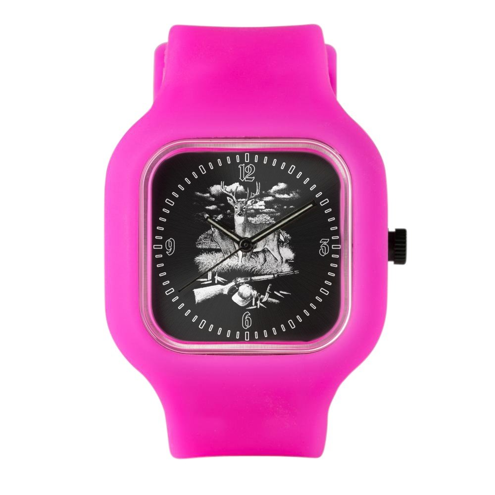 Bright Pink Fashion Sport Watch Deer Hunting Buck Doe Rifle and Hat