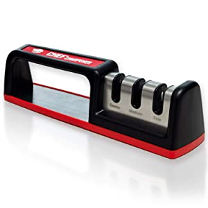 Chef' Sharpener - Kitchen Knife Sharpener CS-T01 Complete 3-Stage Diamond Tungsten Ceramic Knife Sharpening Tool, Easy And Safe To Use, Fast And Effective Sharpening