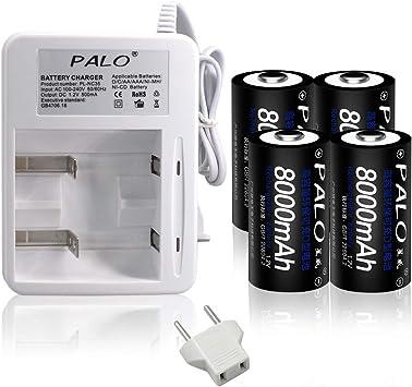 PALO - Cargador con pilas (2 Bay AA AAA C D, 4 pilas C Cell, 4000 mAh, Ni-MH) D 8000mAh Akku + Ladegerät: Amazon.es: Electrónica