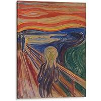 Cuadro decorativo de canvas (lienzo), El grito - Edward Munch - Arte famoso, montado en bastidor de madera de 4.5 cm de profundidad (estilo galería). Tamaños adicionales disponibles. Perfecto para decorar casa u oficina, y especial para sala & baño & oficina. 100% Garantizado.